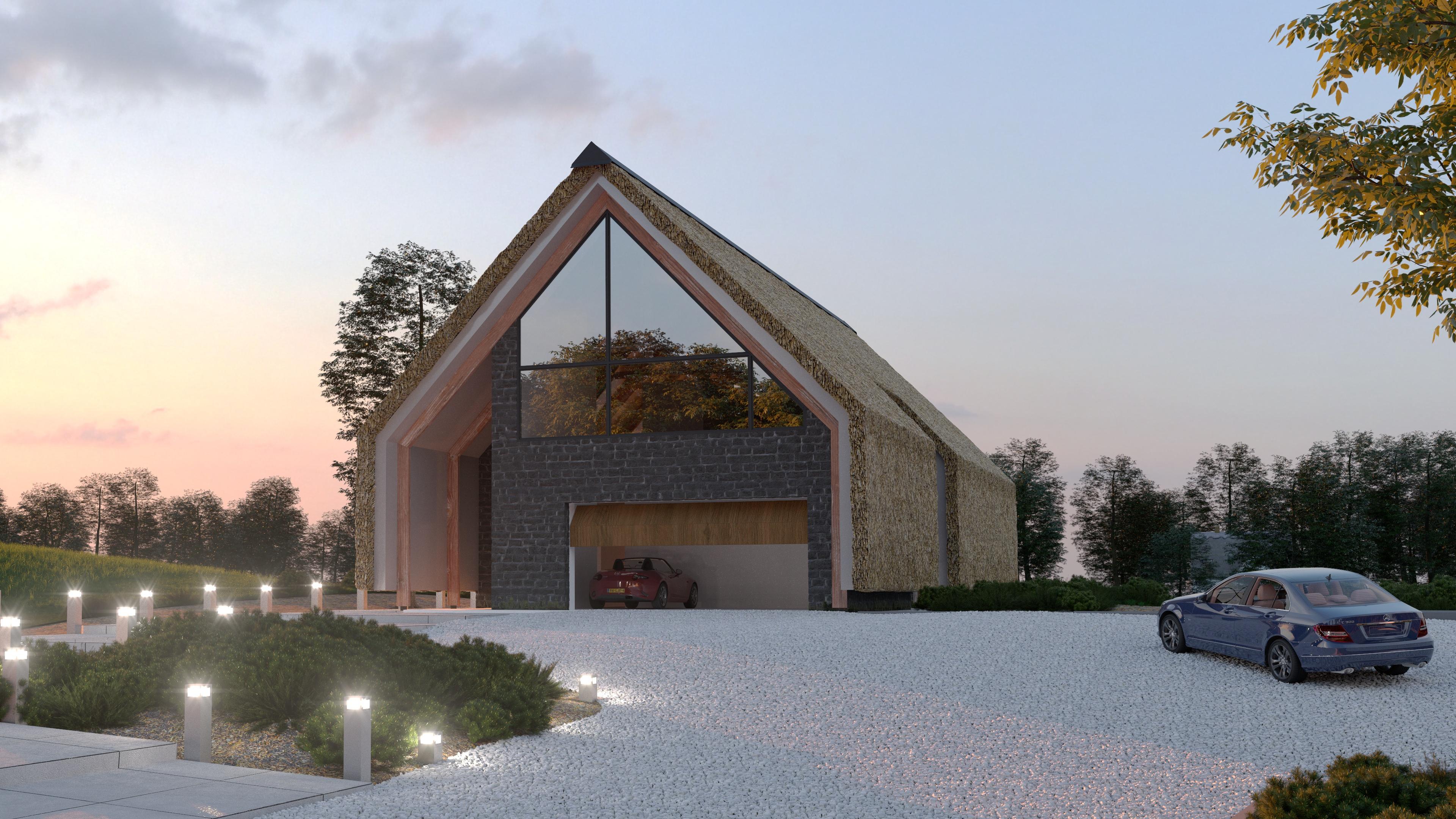 Moderne Schuurwoning Met Rieten Dak Azr Studio